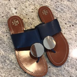 23154d8f078d24 Tory Burch Shoes - Tory Burch Patos Disc Leather Flat Slide Sandal